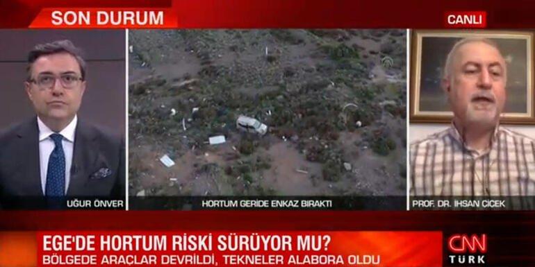 İzmir Çeşmede hortum felaketi Prof. Dr. İhsan Çiçek canlı yayında uyardı